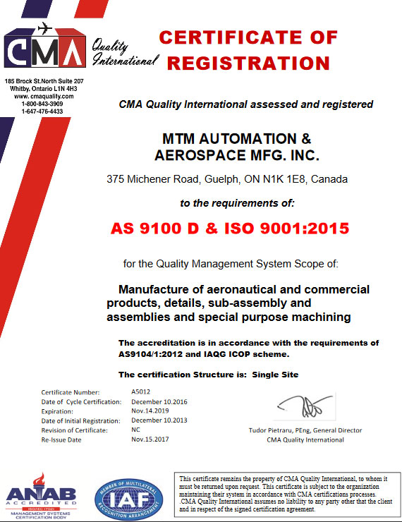 Quality Mtm Automation Aerospace Mfg Inc